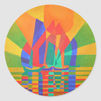 Dreamboat - Cubist Junk In Primary Colors Classic Round Sticker