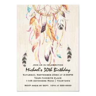 Dreamcatcher Adult Birthday 13 Cm X 18 Cm Invitation Card