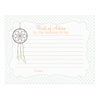 Dreamcatcher Baby Shower Advice card for mom