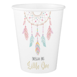 Dreamcatcher Boho Baby Shower Paper Cups