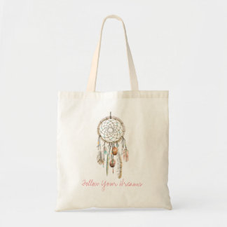 Dreamcatcher Boho Watercolor Rustic Tote Bag