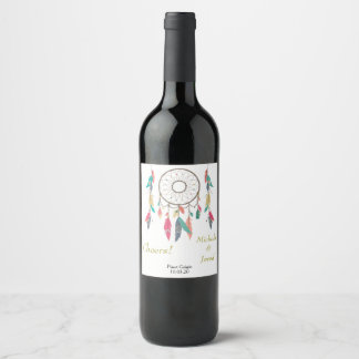 Dreamcatcher Feather Personalized Wedding Wine Label