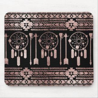 Dreamcatcher Rose Gold Tribal Aztec on Black Mouse Pad