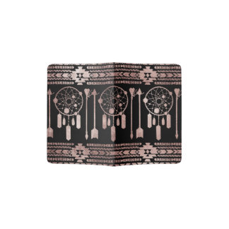 Dreamcatcher Rose Gold Tribal Aztec on Black Passport Holder
