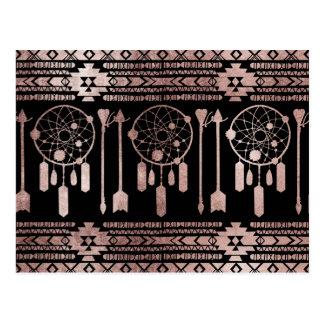 Dreamcatcher Rose Gold Tribal Aztec on Black Postcard