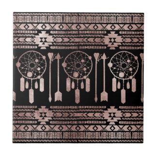 Dreamcatcher Rose Gold Tribal Aztec on Black Small Square Tile