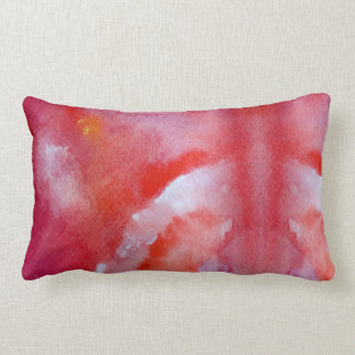 Dreamers stylish pink and yellow art lumbar pillow