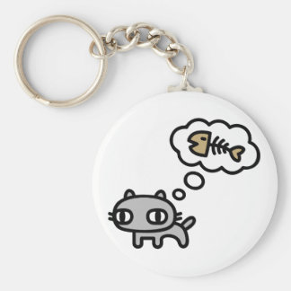 Dreaming Cat Basic Round Button Key Ring