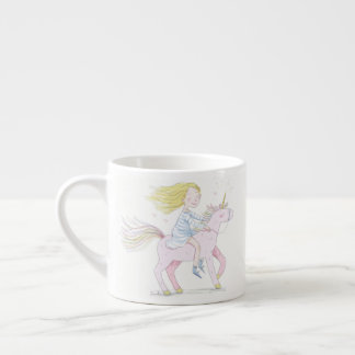 Dreaming girl with Cute Magical Unicorn Espresso Cup