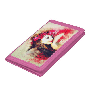 Dreaming girl with roses on TriFold Nylon Wallet
