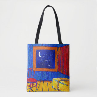Dreaming night time barn loft tote bag