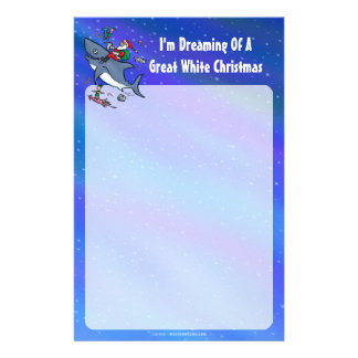 Dreaming Of A Great White Shark Christmas Stationery Paper