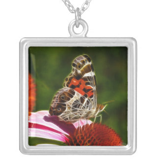 Dreaming of a Painted Lady Square Pendant Necklace