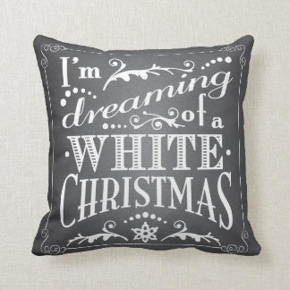 Dreaming of a White Christmas Chalkboard Holiday Throw Cushion