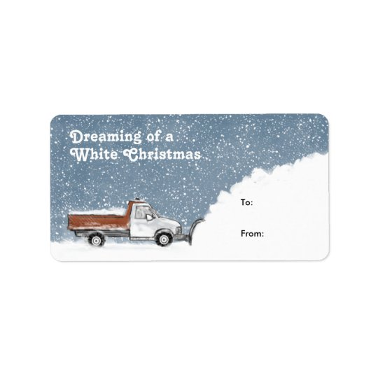 Dreaming of a White Christmas Snowplow Gift Tags Address Label