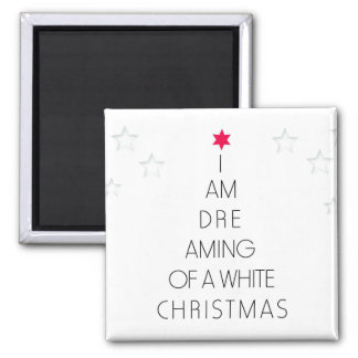 Dreaming of a White Christmas Tree Square Magnet