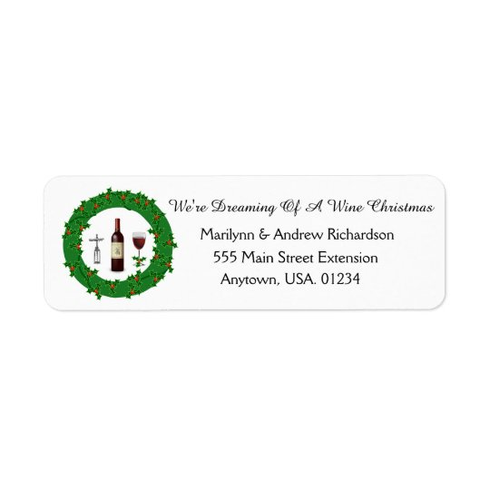 Dreaming Of A Wine Christmas Holiday Wreath Return Address Label