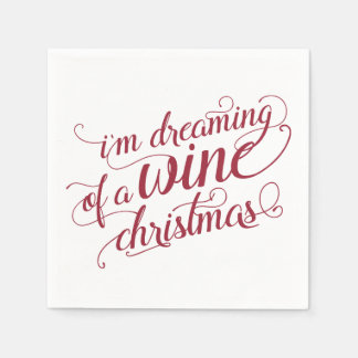 Dreaming of a Wine Christmas | Red & White Party Paper Napkin