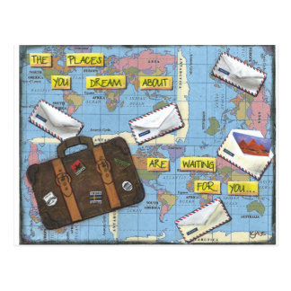 Dreaming of Travel - Mixed Media Artwork Postcard