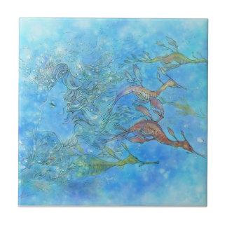 Dreaming on Aquamarine Tides Tile