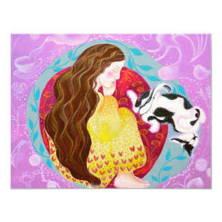 Dreaming Woman and Cat. 11 Cm X 14 Cm Invitation Card