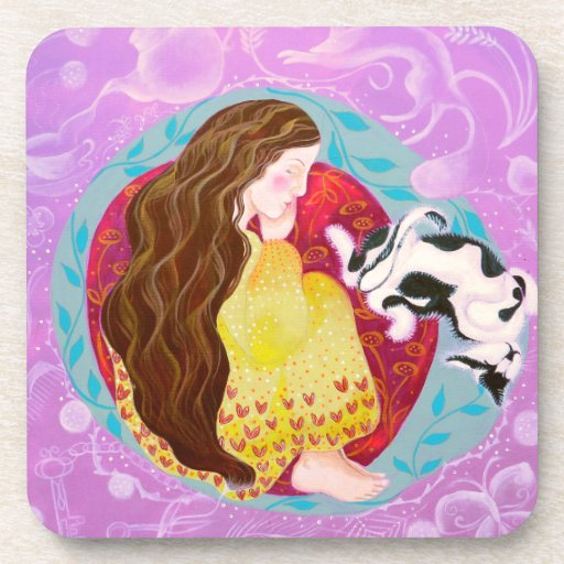 Dreaming Woman and Cat. Drink Coasters