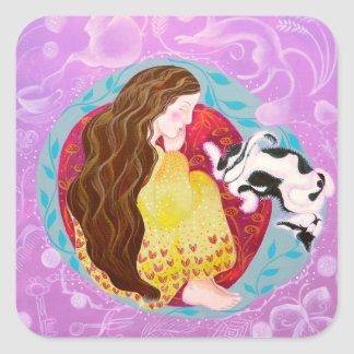 Dreaming Woman and Cat. Sticker