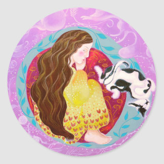 Dreaming Woman and Cat. Stickers