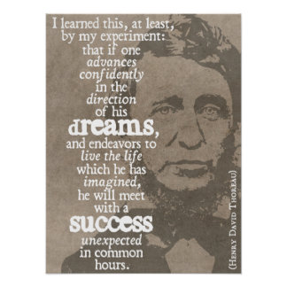 Dreams and success - Thoreau quote poster