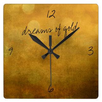 dreams of gold wall clock