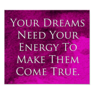 Dreams Quote Elegant Purple Background Poster