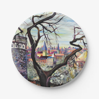 Dreamscape Luxembourg bohemian city 7 Inch Paper Plate