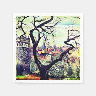 Dreamscape Luxembourg bohemian city Disposable Serviettes