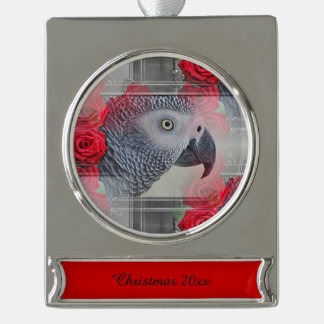 Dreamy African Grey with Red Roses Silver Plated Banner Ornament