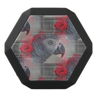 Dreamy African Grey with Red Roses Black Boombot Rex Bluetooth Speaker