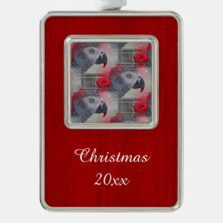 Dreamy African Grey with Red Roses Silver Plated Framed Ornament