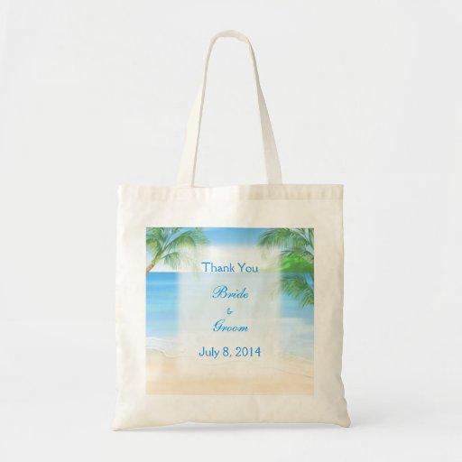 Dreamy Beach Wedding Thank You Canvas Bags