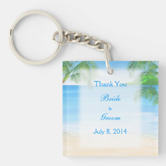 Dreamy Beach Wedding Thank You Double-Sided Square Acrylic Key Ring