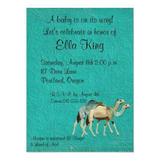 "Dreamy Blue Camels Baby Invitation 6.5"" X 8.75"" Invitation Card"