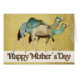 Dreamy Blue Camels Mother's Day Card