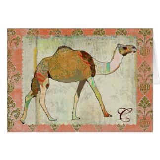 Dreamy Camel Monogram Notecard Greeting Card