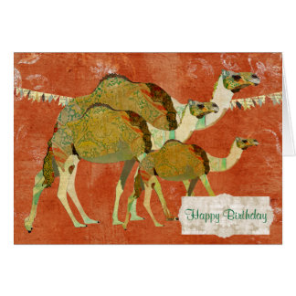 Dreamy Camels Ornate Amber  Birthday  Card