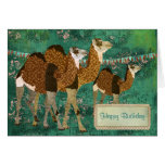 Dreamy Camels Ornate Jade Birthday  Card