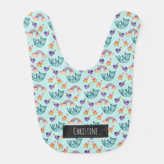 Dreamy Cat Floating in the Sky Watercolor Pattern Bib