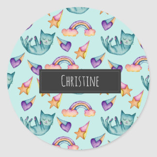 Dreamy Cat Floating in the Sky Watercolor Pattern Classic Round Sticker