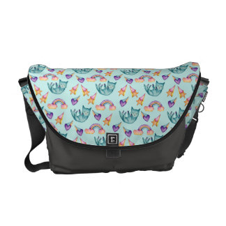 Dreamy Cat Floating in the Sky Watercolor Pattern Courier Bag