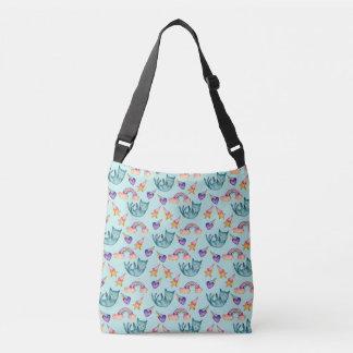 Dreamy Cat Floating in the Sky Watercolor Pattern Crossbody Bag