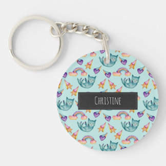 Dreamy Cat Floating in the Sky Watercolor Pattern Key Ring