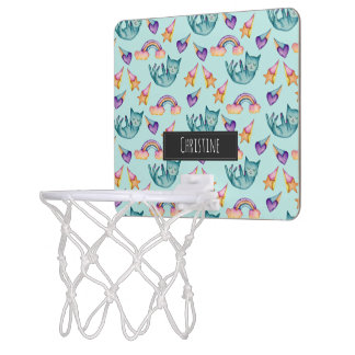 Dreamy Cat Floating in the Sky Watercolor Pattern Mini Basketball Hoop