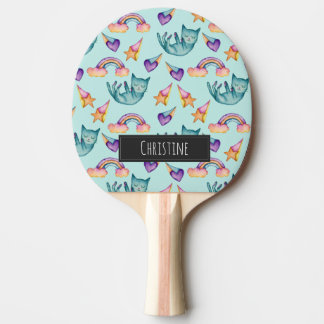 Dreamy Cat Floating in the Sky Watercolor Pattern Ping Pong Paddle